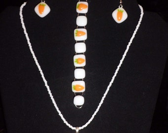 Fused Glass Bunny and Carrots Pendant, Earrings and Bracelet Set