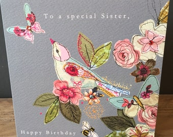 Sister-Greeting Card- handfinished