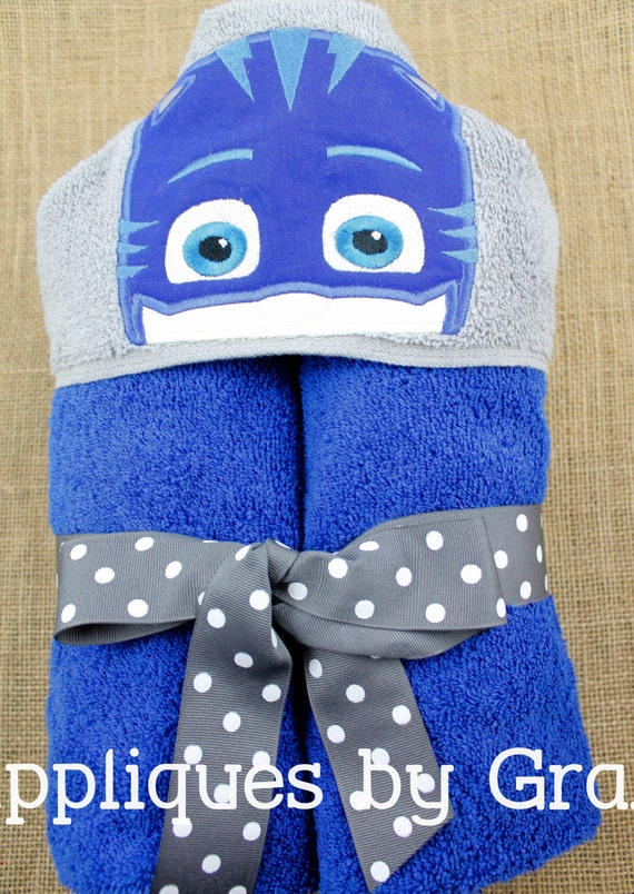 Personalized Appliqued Hooded Bath Towel With PJ Masks Catboy