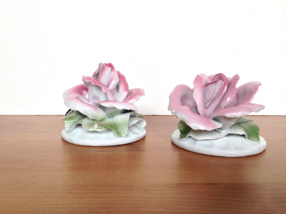 Porcelain roses vintage flowers table decoration wedding decor gift for her