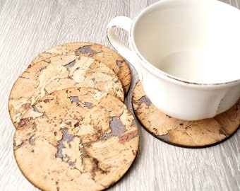 Cork coasters, Rustic cork trivets, set of 4
