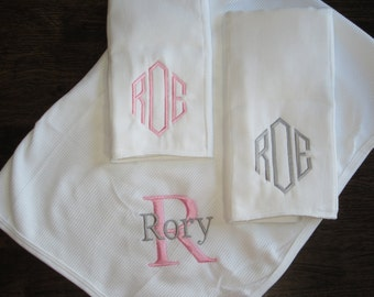 Personalized Blanket and Burp Cloth Gift Set - Personalized - Monogrammed Baby Gifts - Baby Blanket - Personalized Gifts, Baby Gifts, Baby