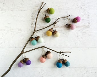 6 Felt Acorn Ornaments - Woodland Decor - Nursery Decor - Your Choice of Colors