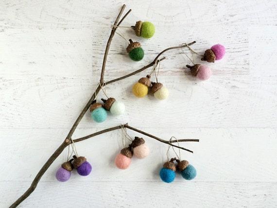 6 felt acorn ornaments woodland decor nursery decor your for How to make acorn ornaments