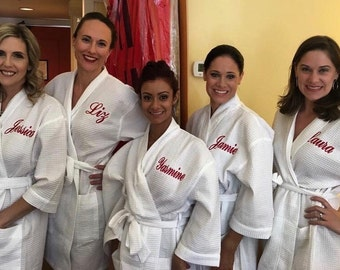 Personalized Bridesmaids Gifts Bridesmaid Robes Monogrammed Robe Monogram Waffle Robe Kimono Robe Personalized Bridesmaids Gift Bride Robe