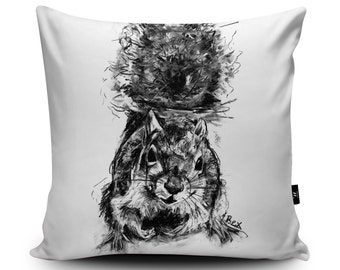 "Squirrel Cushion Animal Cushion Squirrel Pillow Woodland Animal Cushions Cover Squirrel Illustration, 18""/23.6"" Faux Suede Cushion by Bex"