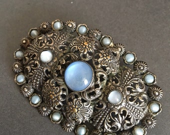 Vintage Moonstone Brooch Pin Gilt Filigree