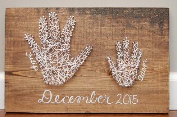 Handprint string and nail art piece mothers day gifts - String art modele ...