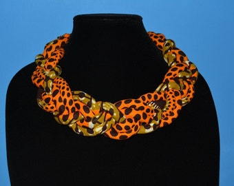 Ankara Necklace, Braided Necklace.