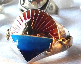 Jerry Garcia Band Cats Under the Stars Grateful Dead Ring Sterling Silver, Gold, Hand Painted