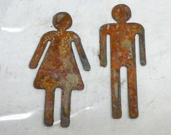 Lot Set of 2 Rusty 3 inch Man Woman Restroom Male Female Shapes Potty People Vintage Antique Metal Art Ornament Craft Stencil Sign