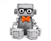 Geeky Plush Robot with Nerdy Glasses - Pick Your Color Bowtie - Geek Gift Idea