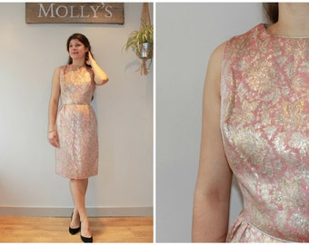 SALE - 1960s Pink and Gold Brocade Pencil/Wiggle Dress