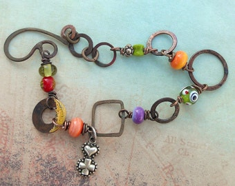 Colorful Artisan Linked Bracelet//Perfect Gift//Contents Jewelry