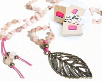 Mala Beads Long Beaded Necklace Boho Jewelry Leaf Pendant Necklace Leaf Necklace Handknotted Mala Necklace