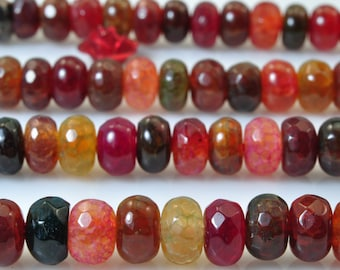 90 pcs of Natural Rainbow Agate faceted rondelle beads in 4x6mm