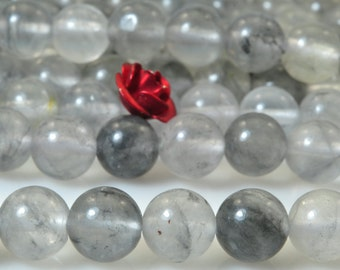 62 pcs of Natural Gray Rock Crystal smooth round beads in 6mm