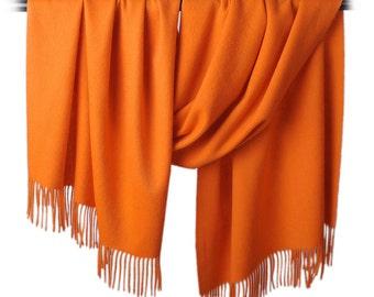 Large Wool Scarf - Orange Wool Scarf - Blue Wool Scarf - Green Wool Scarf - Dark Gray Wool Scarf - Fringe wool scarf - BS2016