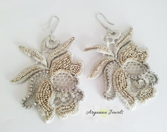 embroidery lace earring