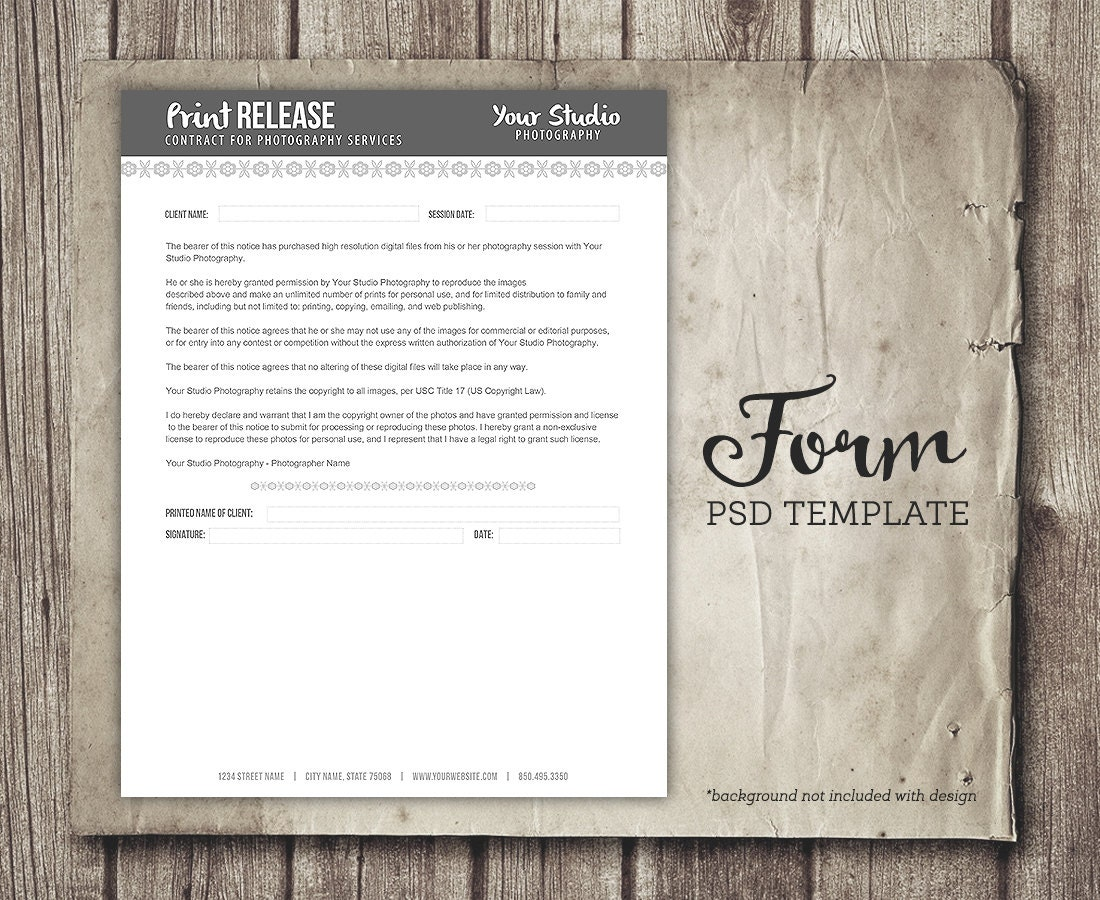 Print Release Form for Photographers - Photography Business Forms ...