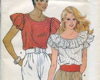 1980s Pullover Top Pattern Vintage Sewing Pattern Butterick 4978 Ruffled Shirt Blouse Patterns Womens Top Size 14-18, uncut