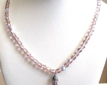 Signed Christian Dior Light Amethyst Crystal Beads Necklace with Gripoix Glass Pendant New