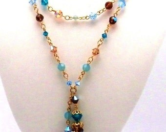 Swarovski Elements Crystal Necklace with Pendant Turquoise and Gold New (D)