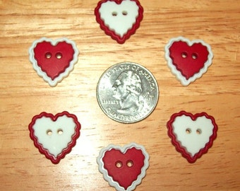 Heart Buttons, with Scalloped Edges, for Sewing, Scrapbook, or Cards, Red and White, Set of 6