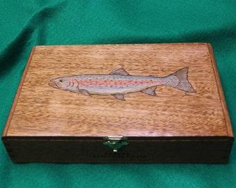 Wooden Keepsake Box, Re-Purposed Cigar Box, Pyrography + Tinting - Rainbow Trout (No. 127)