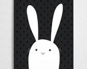 Bunny art print, black and white poster, nursery illustration //  White Bunny