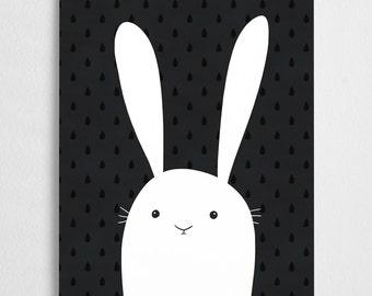 Cute bunny art print, nursery illustration //  White Bunny