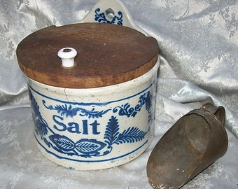 Antique POTTERY SALT CROCK Box with Wood Lid and Tin Shovel with Cobalt Blue Decoration