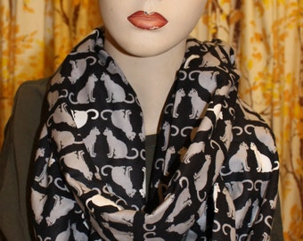 cat infinity flannel scarf. handmade and the perfect gift!