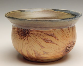 Ceramic Serving/Mixing Bowl - Soda Fired Pottery - Carved Sunflower Bowl