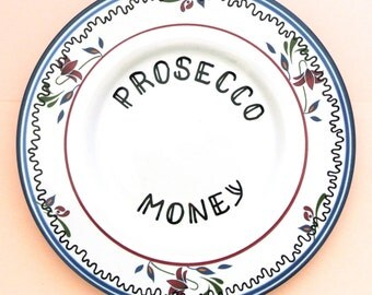 Prosecco Money Box Ring Dish Trinket Holder Spare Change Collection Plate Alcohol Gift for Her Funny 18th 21st Birthday Present Champagne