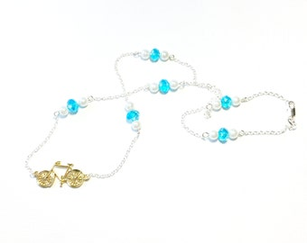 Gold Bicycle with Blue Crystal Silver Necklace