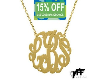 """Gold Monogram necklace - any initial gold monogram necklace 1"""" gold plated 18k on .925 silver Mothers day gift Bridesmaid necklace"""