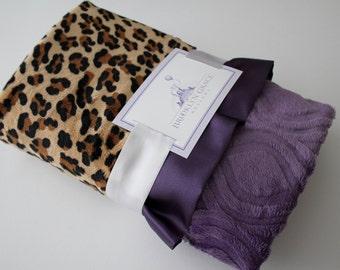 Animal Print, Leopard - Cheetah Print with Purple Marquise Minky BLANKET - Crib Bedding, Throw, Nursery, Baby Shower, Stroller Blanket