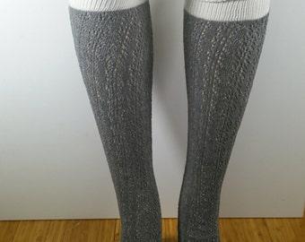 Gray Scrunchy Top Crochet Over the Knee Socks