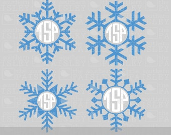 Snowflake Monogram Frames - .svg/.eps/.dxf/.ai for Silhouette Studio, Cricut, or other cutting software