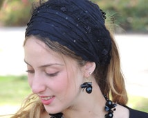 Imperial Black Laces Headband Tichel , Bandana Snood, Head Scarf, Half Head Covering,jewish headcovering,Scarf,Bandana,apron