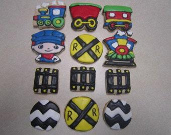 1 dozen Choo Choo Train Hand Decorated Cookies