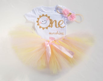 You are My Sunshine First Birthday Outfit | Summer 1st Birthday outfit with pink and yellow tutu | Your are my sunshine birthday