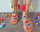 SALE !!! Model BILBOA---Size 36 Sandals boho style,pom poms sandals, leather sandals, gladiator sandals, boho sandals
