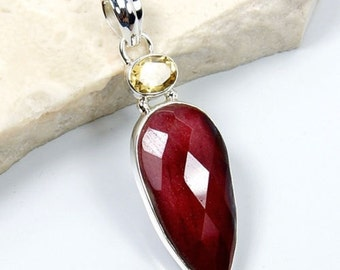 Mookaite, Citrine & .925 Sterling Silver Pendant , T367