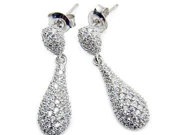 Cubic Zirconia Earrings, 925 Sterling Silver Dangle Earrings , Z664