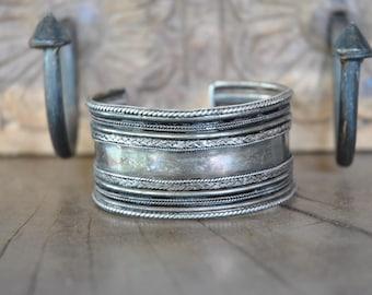 Vintage SILVER  CUFF BANGLE , 925 women's silver bracelet ....
