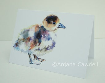 Gosling - Blank Greetings Card, Watercolour Card, Watercolor Card, Baby Animal Card, Spring Card, Easter Card, Easter chick, Spring chick