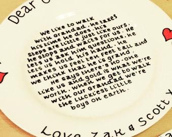 Hand-painted, personalised Grandad Plate