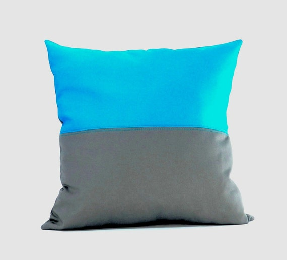 True Modern Pillows : Gray Pillow Turquoise Pillow Two Toned Pillow Gray and